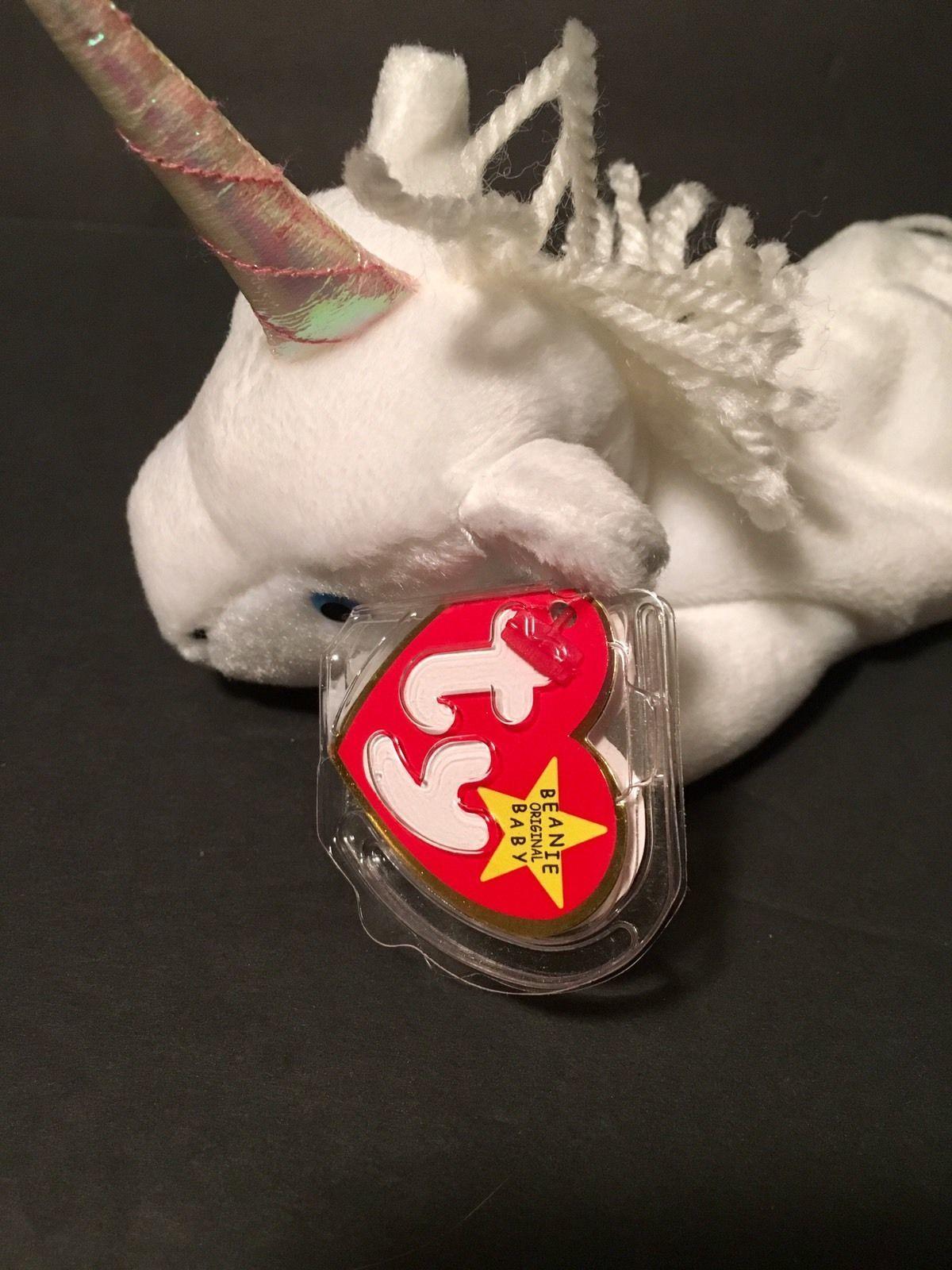 Ty Beanie Babies Plush Beanbag Mystic the Unicorn White Blue Eyes PE