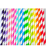 Striped Straws, Rainbow Paper Straws, Biodegradable, Choose Your Colors - $4.30