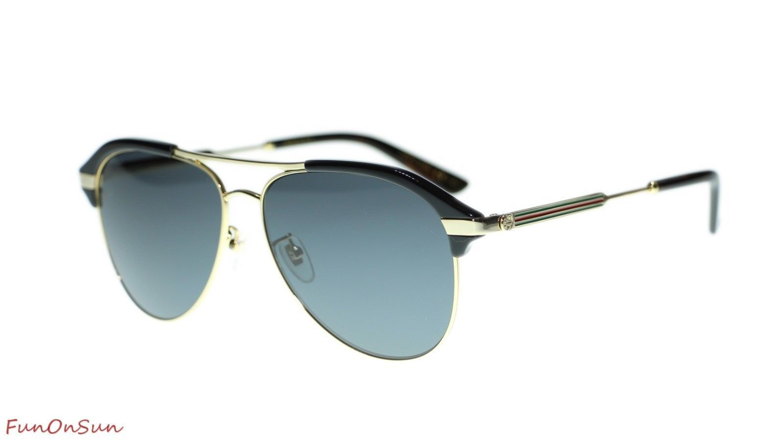 1f66e6f0914 10. 10. Previous. Gucci Men Sunglasses GG0288SA 001 Black Gold Grey Lens  Aviator 60mm Authentic