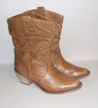 STEVE MADDEN Women's P-WESST Camel Leather Western Pull-On Slouch Boots ... - $29.99