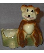 Vintage Art Pottery Bear on Log Planter - $8.00