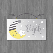 Personalized Sleepy Moon and Stars Canvas on Wood Door Sign Plaque Nurse... - $19.99