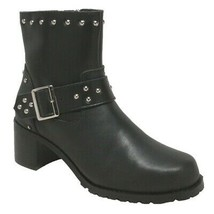 "WOMEN'S 8"" HEELED BUCKLE STYLED LEATHER MOTORCYCLE BIKER BOOT SIZE 8.5M-... - $98.95"