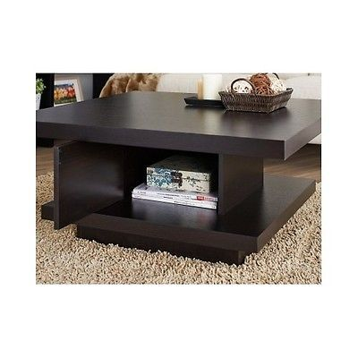 coffee end table living room storage modern square wood
