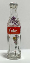 USA Coke Coca-Cola Mini Miniature dried Pink Purple Flowers crystal glass bottle