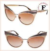 Dolce & Gabbana Gros Grain 2178 Rose Gold Pink Metal Cat Eye Sunglasses DG2178S - $212.85