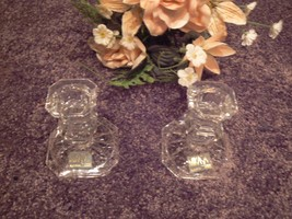 Mikasa Clear Crystal Pair of Tapered Candlestick Candle Holders - $14.84