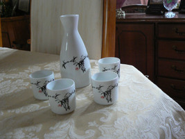 Vintage White & Black Sake Set Carafe & Four Cu... - $13.45