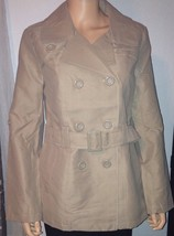 Belted Double Breasted Khaki LIGHT fall/spring Coat Size junior Large - $26.72