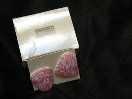 Lovely Avon Silvertone Pink Porcelain Art Pierced  Earrings - $7.56