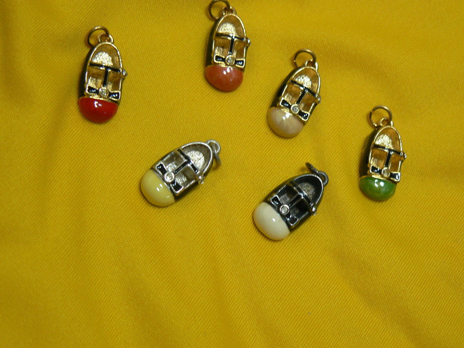 Firenza Set of Six Goldtone/Silvertone Enameled Shoe Charms