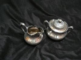Antique/Vintage Reed & Barton M.F&D Plated Large Creamer & Sugar Bowl with Cover - $34.64