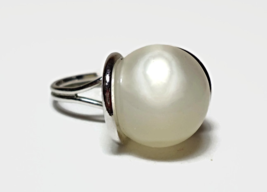 Sarah Cov Silver Moonglow Round Pearl Bead Ring with Luminous Solitaire ... - £20.45 GBP