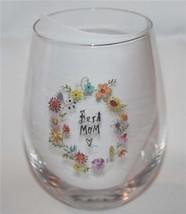 4 Rae Dunn BEST MOM Bright Spring Floral Frame Stemless Wine Glasses NEW