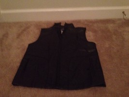 Arizona Jean Co. Women's Faux Leather Vest Sz L Black Lined Vest - $25.00