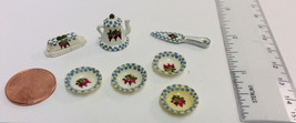 Miniature Handpainted Dollhouse DISHES Butter Dish, Cake Knife, Tea Pot + 4 bowl - $18.99
