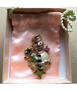 KIRKS FOLLY Signed Glitter Enamel Christmas Snowman Brooch Pin in Origin... - $64.00