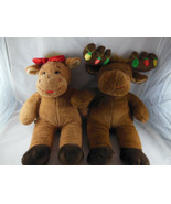 "Build a bear Christmas boy Moose 19"" with lights + 16"" Girl Moose BAB Co... - $25.73"