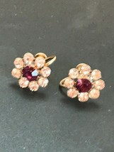 Vintage Small Clear & Purple Rhinestone Flower Goldtone Screwback Earrin... - $13.99