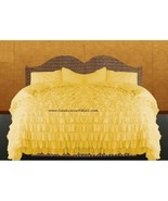 YELLOW Chiffon RUFFLE BedSpread with Ruffle Pillow Shams - $179.50