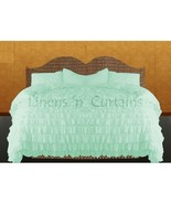 AQUA BLUE Chiffon RUFFLE BedSpread with Ruffle Pillow Shams - $179.50