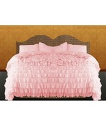 BABY PINK Chiffon RUFFLE BedSpread with Ruffle Pillow Shams - $179.50