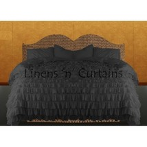 GREY Chiffon RUFFLE BedSpread with Ruffle Pillow Shams - $179.50