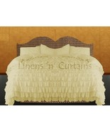 IVORY Chiffon RUFFLE BedSpread with Ruffle Pillow Shams - $179.50