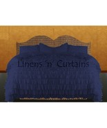 NAVY Chiffon RUFFLE BedSpread with Ruffle Pillow Shams - $179.50