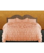 PEACH Chiffon RUFFLE BedSpread with Ruffle Pillow Shams - $179.50