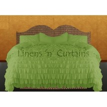 SAGE GREEN Chiffon RUFFLE BedSpread with Ruffle Pillow Shams - $179.50