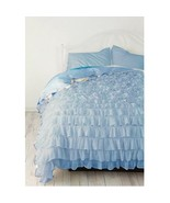 SKY BLUE Chiffon RUFFLE BedSpread with Ruffle Pillow Shams - $179.50