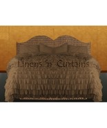 TAUPE Chiffon RUFFLE BedSpread with Ruffle Pillow Shams - $179.50
