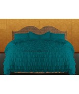 TEAL BLUE Chiffon RUFFLE BedSpread with Ruffle Pillow Shams - $179.50