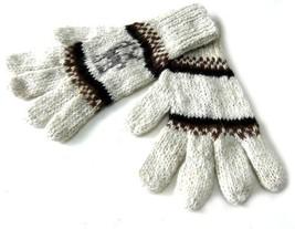 Alpakaandmore Womens Hand-knitted Gloves Alpaca Wool White (medium) [App... - $20.79