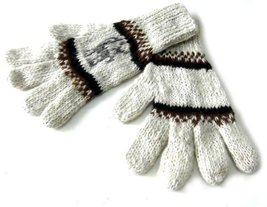 Alpakaandmore Womens Hand-knitted Gloves Alpaca Wool White (Small) [Appa... - $20.79