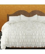 WHITE Chiffon RUFFLE BedSpread with Ruffle Pillow Shams - $179.50