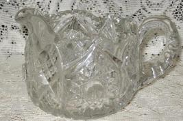 Early American Pressed Glass Large Creamer-Hobstar with Saw Tooth edge - $16.00