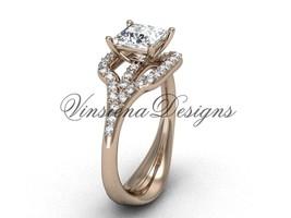 Unique 14kt rose gold diamond engagement ring,One Moissanite  VD10033 - $1,875.00