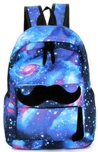 Samaz Cool Blue Colorful Starry Sky Mustache School Backpack Girls Boys Backpack - $26.99