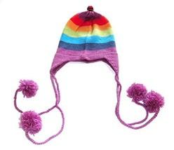 Alpakaandmore Womens Rainbow Andean Alpaca Wool Chullo Hat Ear Flips (One Size) - $22.77