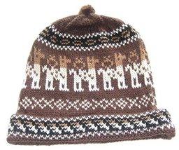 Alpakaandmore, Womens Brown Peruvian Beanie Hat, Alpaca Wool Handmade, One Si... - $22.77
