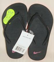 NIKE KIDS SOLARSOFT THONG 2 Black Pink Flip Flop Sandals Girl's Size US ... - $18.80