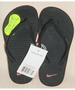 NIKE KIDS SOLARSOFT THONG 2 Black Pink Flip Flop Sandals Girl's Size US ... - $18.80