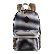 Samaz Strip Canvas Casual Bag Backpack Satchel for School College - $27.99
