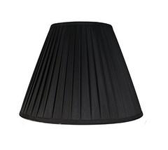 "Urbanest Softback Empire Side Pleat Lampshade, Faux Silk, 8x16x11"", Black, Spide - $49.49"