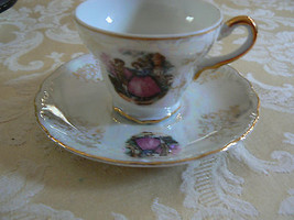 Vintage Made in Japan Fancy Victorian Style Demitasse Footed Tea Cup & S... - $14.30