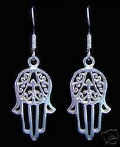 NICE New Hand of Fatima Real Sterling Silver 925 Earrings Islam Allah Is... - $30.22