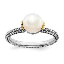 Sterling Silver & 14K Yellow Gold Accent Freshwater Pearl Ring - $124.99
