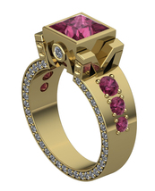 Gothic Engagement Ring in 18 k with Rubies - $2,195.00